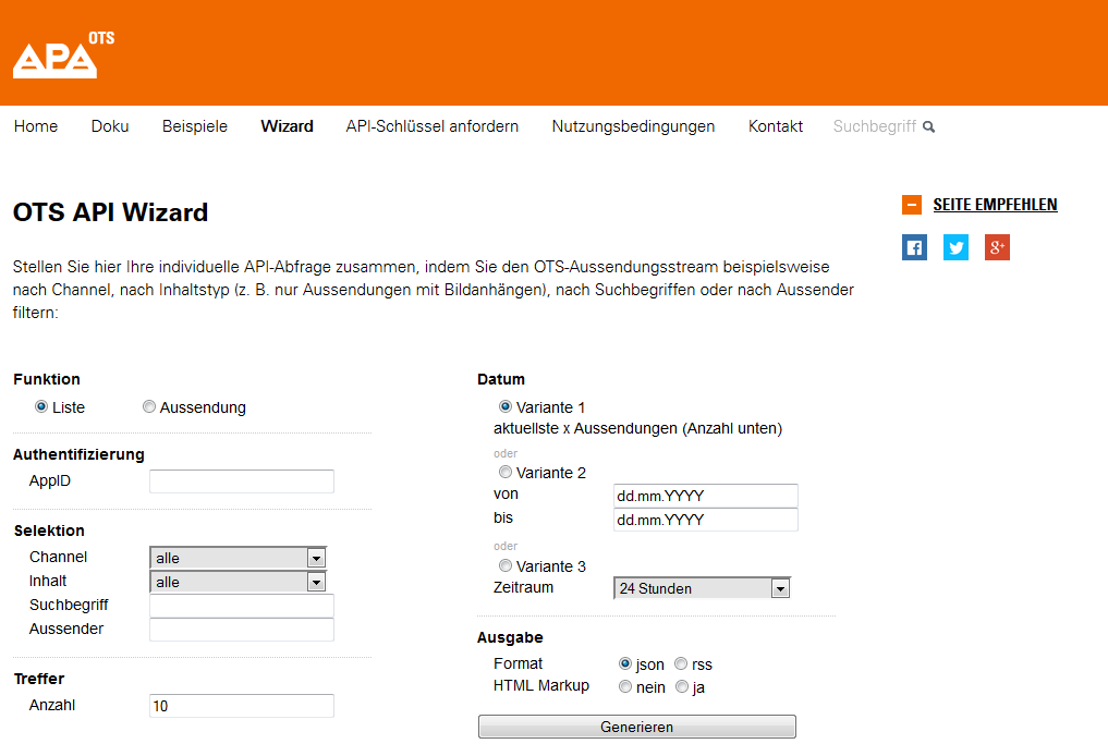 OTS API Wizard Formular